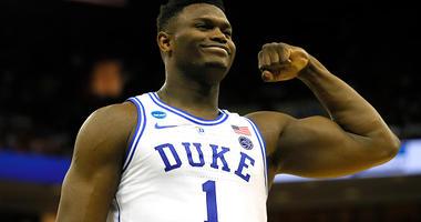 Zion Williamson flexes at Duke.