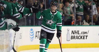 DALLAS, TEXAS - APRIL 02: Tyler Pitlick #18 of the Dallas Stars celebrates a goal in the second period against the Philadelphia Flyers at American Airlines Center on April 02, 2019 in Dallas, Texas.