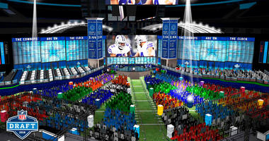 This computer rendering provided by the NFL shows the view looking towards the stage of the proposed NFL Draft at AT&T Stadium in Arlington, Texas. The NFL is bringing its Big D, the draft, to Dallas Cowboys owner Jerry Jones' palace.