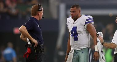 Dallas Cowboys quarterback Dak Prescott with head coach Jason Garrett