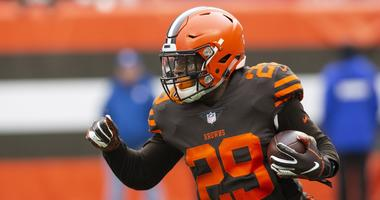 Dec 23, 2018; Cleveland, OH, USA; Cleveland Browns running back Duke Johnson (29) runs the ball against the Cincinnati Bengals during the first quarter at FirstEnergy Stadium.
