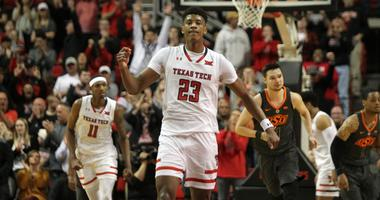 Feb 27, 2019; Lubbock, TX, USA; Texas Tech Red Raiders guard Jarrett Culver (23) celebrates a basket against the Oklahoma State Cowboys in the second half at United Supermarkets Arena.