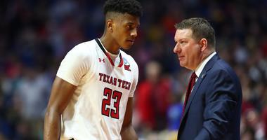 Mar 24, 2019; Tulsa, OK, USA; Texas Tech Red Raiders head coach Chris Beard with guard Jarrett Culver (23) against the Buffalo Bulls during the second round of the 2019 NCAA Tournament at BOK Center.