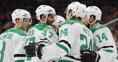 Mar 28, 2019; Edmonton, Alberta, CAN; The Dallas Stars celebrate a second period goal by forward Alexander Radulov (47) against the Edmonton Oilers at Rogers Place.