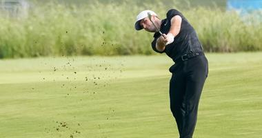 ; Denny McCarthy plays his shot from the fairway on the tenth hole during the first round of the AT&T Byron Nelson