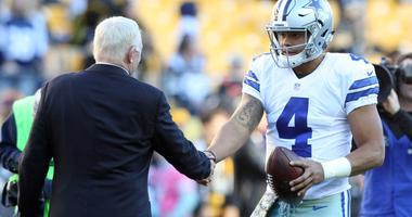 Dallas Cowboys owner Jerry Jones and quarterback Dak Prescott