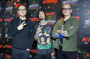 Mark Hoppus, Travis Barker and Matt Skiba of Blink-182 pose on the red carpet during KROQ Almost Acoustic Christmas at The Forum on December 10, 2016