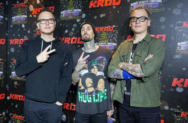 Mark Hoppus, Travis Barker and Matt Skiba of Blink-182 pose on the red carpet during KROQ Almost Acoustic Christmas at The Forum on December 10, 2016