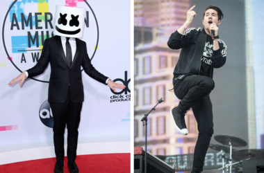 LOS ANGELES, CA - NOVEMBER 19: Marshmello at the 2017 American Music Awards at Microsoft Theater on November 19, 2017 in Los Angeles, California.Bastille lead vocalist Dan Smith performs during a collaboration with Mura Masa during the second day of BBC R