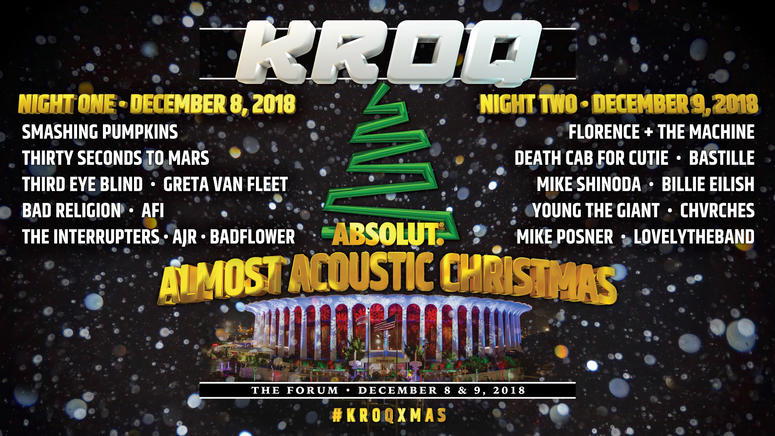 Kroq Almost Acoustic Christmas 2019 Lineup KROQ Almost Acoustic Christmas 2018 Lineup | The World Famous KROQ