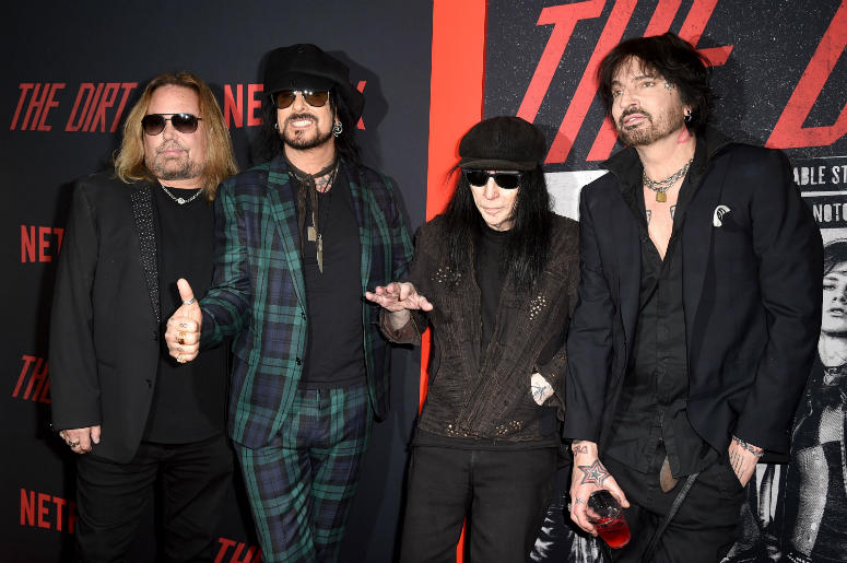 """Vince Neil, Nikki Sixx, Mick Mars and Tommy Lee of Motley Crue arrive at the premiere of Netflix's """"The Dirt"""""""