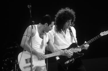 Queen members Freddie Mercury (left) and Brian May (right) during the Live Aid concert