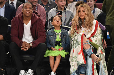 Jay Z, Blue Ivy Carter and Beyonce Knowles attend the 66th NBA All-Star Game at Smoothie King Center on February 19, 2017