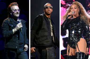 Bono of U2 performs in concert at Madison Square Garden in New York / Beyonce performs at the 2018 Coachella Valley Music And Arts Festival at Indio Polo Grounds / Jay Z