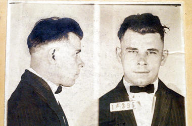 This file photo shows Indiana Reformatory booking shots of John Dillinger, stored in the state archives, and shows the notorious gangster as a 21-year-old. Records show that Dillinger was admitted into the reformatory on Sept. 16, 1924. The body of the 19