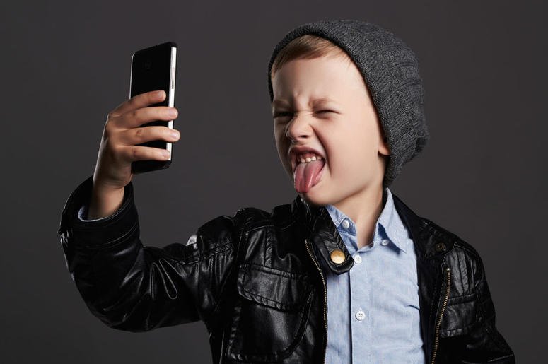 Kid with a phone
