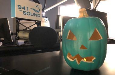 Blue pumpkin in the studio