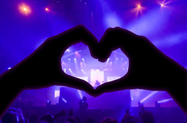 Heart-shaped hands at a concert