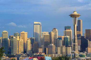 Seattle skyline under gray skies