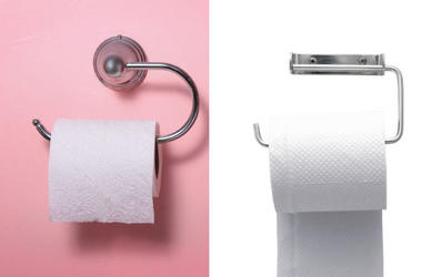 Toilet paper over and under