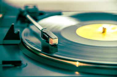 Vinyl record on a turntable