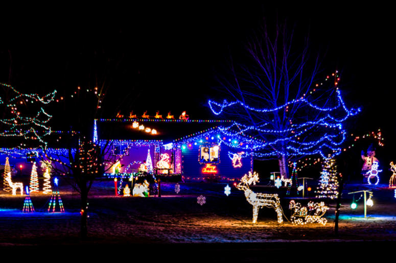 Holiday lights on a house