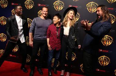 Actors Yahya Abdul-Mateen II, Patrick Wilson, director James Wan, actors Amber Heard and Jason Momoa attend attend CinemaCon 2018 Warner Bros on Tuesday, April 24, 2018, in Las Vegas, Nevada.