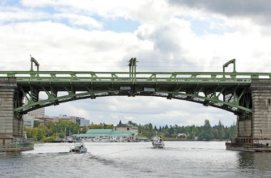 Bridge, Washington, Lifting Bridge, Boat, Lake, Water, Lake Union, Calm Surface