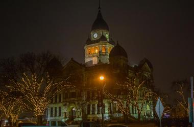 Denton, Texas City Hall at Night