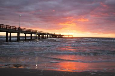 Beach, Bob Hall Pier, Padre Balli Park, Corpus Christi, Texas, Sunset, Water