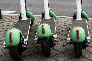 Lime Scooters, Electric Scooters, Parked, Street