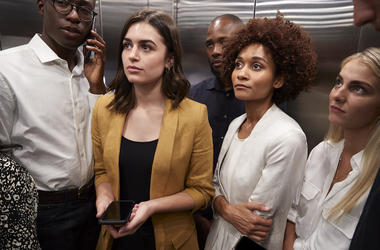Work Colleagues, Coworkers, Elevator, Awkward, Silence, Staring