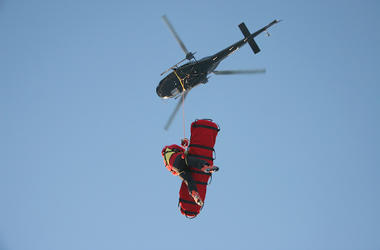 Helicopter, Aerial Rescue, Blue Sky, Patient, Rescue Stretcher, Worker