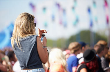Woman, Outdoors, Music Festival, Crowd, Phone