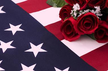 Roses, American Flag, Fallen Soldier