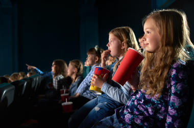 Kids at a movie theater