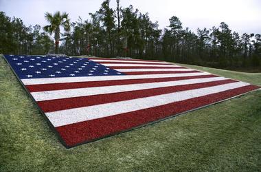 American Flag made of gravel