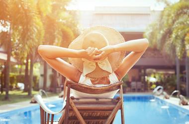 Woman, Relaxing, Pool, Resort, Hotel, Sunbathing, Hat