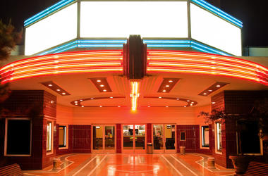 Theater, Entrance, Neon, Glowing, Doors, Tower Theater