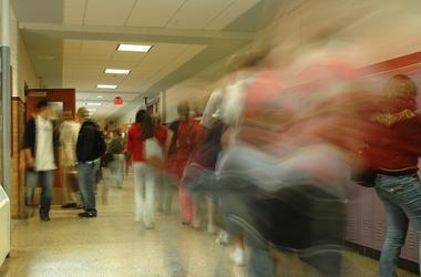 High School, Hallway, Students, Blurry, Motion