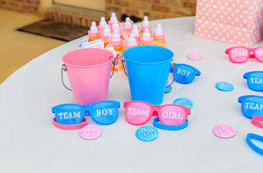 Gender Reveal, Party, Decorations, Boy, Girl, Blue, Pink, Buckets, Sunglasses