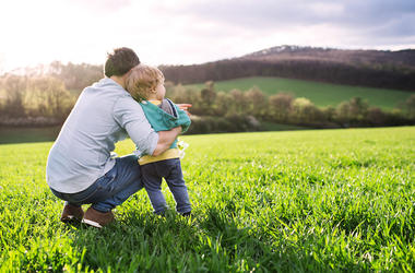 Father, Son, Toddler, Outside, Field, Spring, Nature
