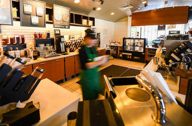Starbucks, Counter, Store, Blurry, Employee