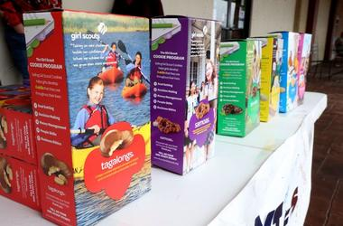 Girl Scout Cookies, Boxes, Table, Display, For Sale