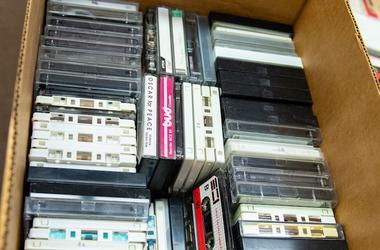Cardboard Box, Cassette, VHS, VCR, Tapes, Random