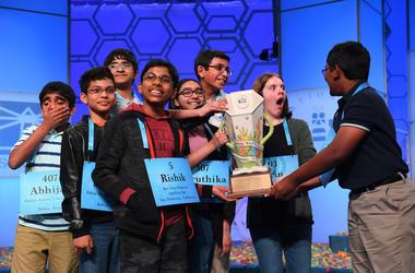 Abhijay Kodali, Christopher Serrao, Erin Howard, National Spelling Bee, Rishik Gandharsi, Rohan Raja, Saketh Sundar, Shruthika Padhy, Sohum Sukhantankar, Spelling, Finals, Winners, DFW
