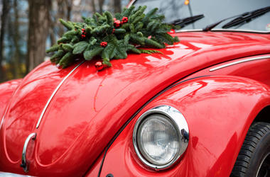 Car, Christmas, Wreath, Hood