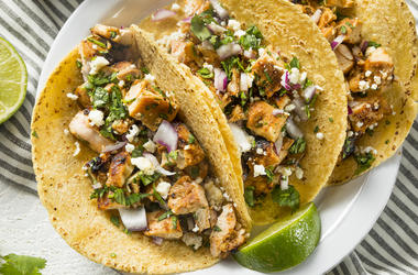 Homemade, Tacos, Chicken, Onion, Cilantro, Cheese