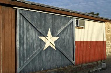 Texas Flag, Painted, Historic Building, Wall, Door