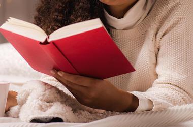 Woman, Reading, Book, Bed, Pajamas, Tea, Mugn